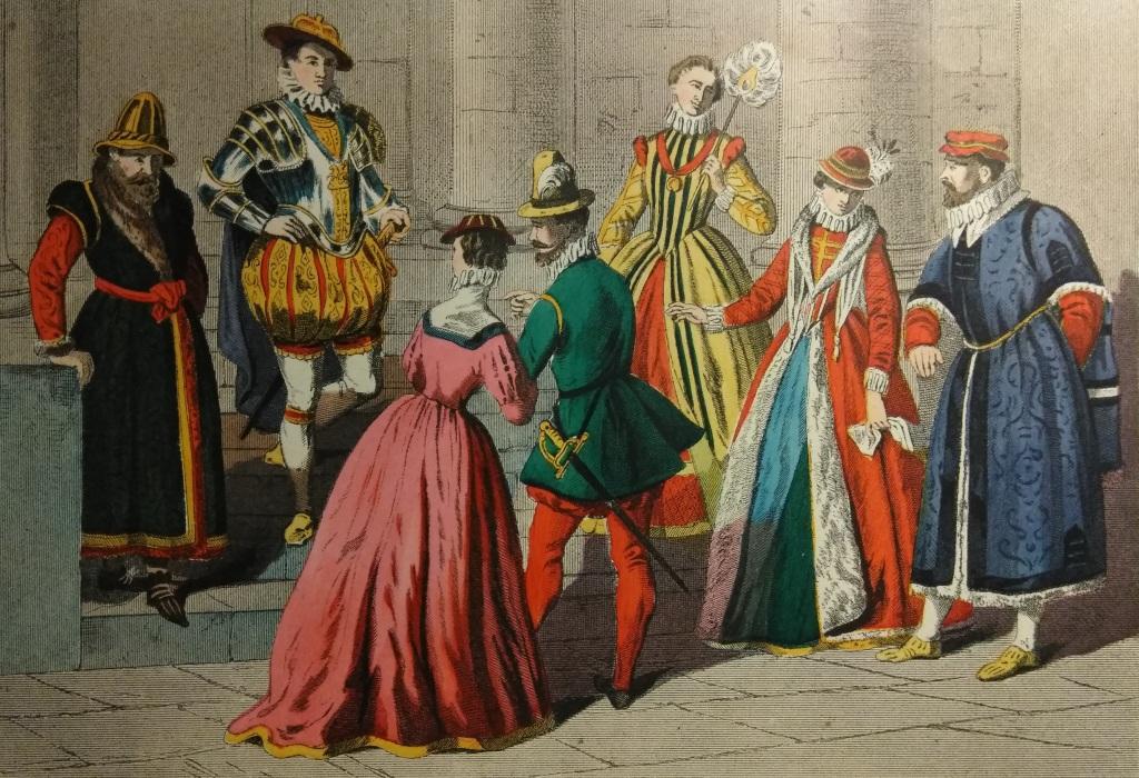 Costumes 1550 - 1580 Nobleman, Military Habit, Middle Class, Noble Ladies, London Merchant